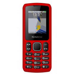 Konrow Chipo 3 - Téléphone Classique - Ecran 1.8'' - Photo - Bluetooth - Double Sim - Rouge