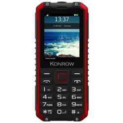 Konrow Stone Pro - Téléphone Antichoc Certifié IP68 - 2.4'' - Double Sim - Fonction Power Bank - Noir / Rouge