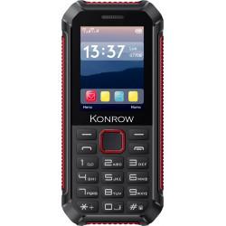 Konrow Stone Lite - Téléphone Antichoc Certifié IP65 - 2.4'' - Double Sim - Noir / Rouge