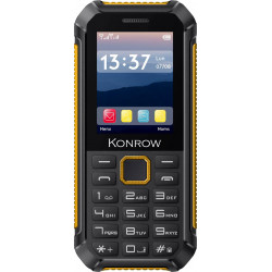 Konrow Stone Lite - Téléphone Antichoc Certifié IP65 - 2.4'' - Double Sim - Noir / Jaune