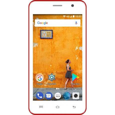 Konrow Easy Touch - Smartphone Android 7.0 Nougat - Ecran 5'' - Double Sim - 8Go, 1Go RAM - Rouge