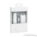 Chargeur 3 en 1 pour iPhone (Chargeur, Câble Lightning, Adaptateur Allume Cigare) - 1A - Blanc - (Compatible, Blister)