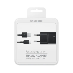 Samsung EP-TA20EBECGWW - Chargeur Secteur Complet, Adaptateur Fast Charge 2A & Câble USB Type-C - Noir (Emballage Originale)