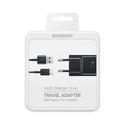 Samsung EP-TA20EBECGWW - Chargeur Secteur Complet - Adaptateur Fast Charge 2A & Câble USB Type-C - Noir (Emballage Originale)
