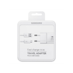 Samsung EP-TA20EWEUGWW - Chargeur Secteur Complet - Adaptateur Fast Charge 2A & Câble Micro USB - Blanc (Emballage Originale)