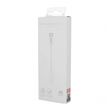 Huawei CM20 - Adaptateur d'origine USB Type-C vers Jack 3.5mm - Blanc (Emballage Originale)