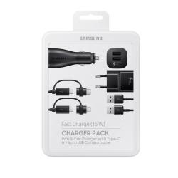Samsung EP-U3100WBEGWW - Pack De Charge Complet, Adaptateur Secteur/Voiture, Câble Micro USB/USB-C - Noir (Emballage Originale)