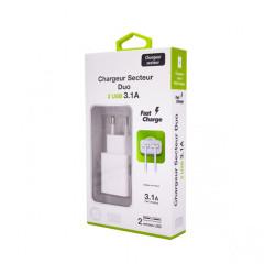 Adaptateur Secteur 2 x USB Universel - Adaptateur 3.1A Charge Rapide - Blanc (Emballage Originale)