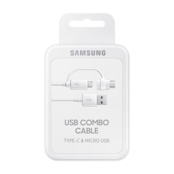 Samsung EP-DG930DWEGWW - Câble Combo Micro USB & Type C - 1.5m - Blanc (Blister)