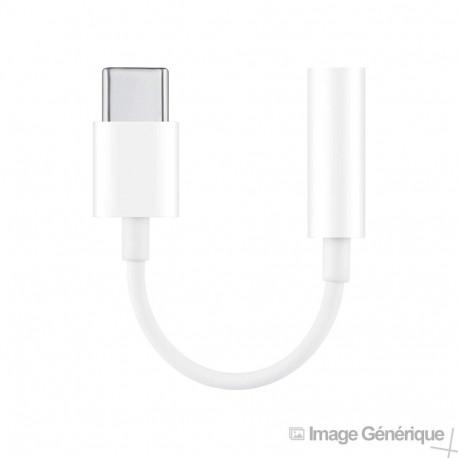 Adaptateur USB Type-C (Embout Long de 9mm)  vers Jack 3.5mm - Blanc (En Vrac)