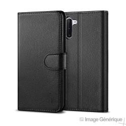 Étui à Rabat Similicuir pour Samsung Note 10 - Noir