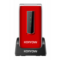 Konrow Senior C - Écran 2.4'' - Double Sim - Rouge (Dock de charge Fourni)