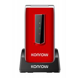 Konrow Senior C - Écran 2.4'' - Double Sim - Rouge (Dock de charge Fourni)