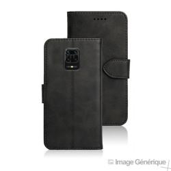 Étui à Rabat Similicuir pour Xiaomi Redmi Note 9 Pro - Noir (En Vrac)