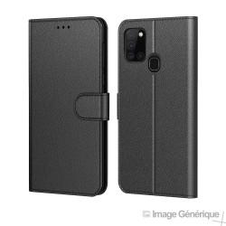 Étui à Rabat Similicuir pour Samsung Galaxy A21S - Noir