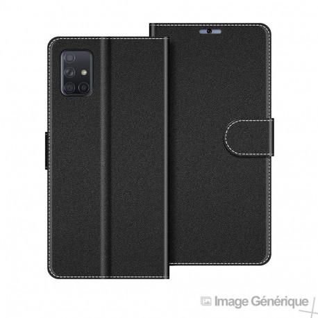 Étui à Rabat Similicuir pour Samsung Galaxy A41 - Noir (En Vrac)