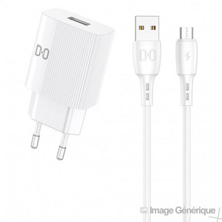 Chargeur Secteur Complet - Adaptateur USB 2.4A & Câble Micro USB Détachable, Blanc (Compatible, Blister)