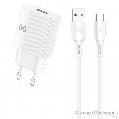 Chargeur Secteur Complet - Adaptateur USB 2.1A & Câble USB Type-C Détachable, Blanc (Compatible, Blister)