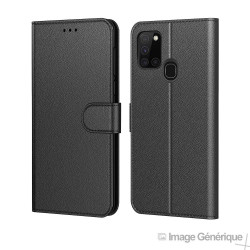 Étui à Rabat Similicuir pour Samsung Galaxy A21 - Noir (En Vrac)