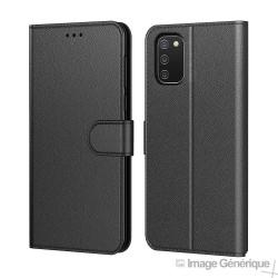 Étui à Rabat Similicuir pour Samsung Galaxy A02s - Noir (En Vrac)