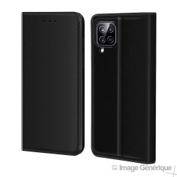 Étui à Rabat Similicuir pour Samsung Galaxy A12 - Noir (En Vrac)