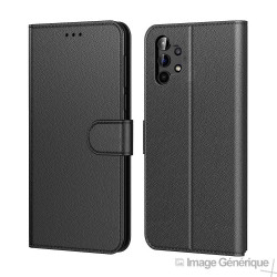 Étui à Rabat Similicuir pour Samsung Galaxy A32 5G - Noir (En Vrac)