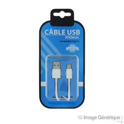 Câble Data Type-C Vers USB - 1m - Blanc - (Compatible, Blister)
