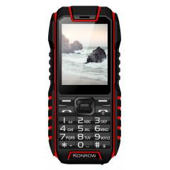 Téléphone Antichoc Konrow Stone - 2.4'' - Noir / Rouge