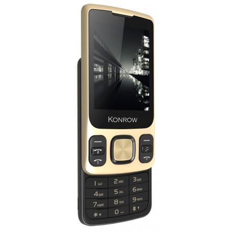 Konrow Slider - Téléphone Coulissant - Ecran 2.4'' - Double Sim - Or